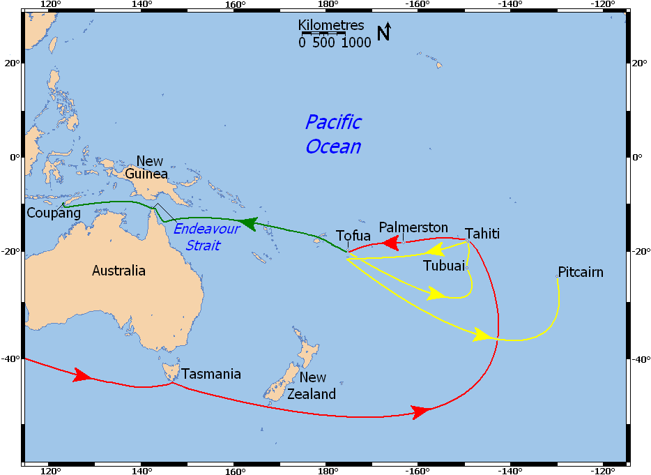 Map showing Bounty's movements in the Pacific Ocean, 1788 ... on map of costa rica, map of hawaii, map of spain, map of malaysia, map of south pacific, map of bali, map of austrailia, map of fiji, map of brazil, map of bahamas, map of bora bora, map of kwajalein, map of moorea, map of carribean, map of switzerland, map of new zealand, map of thailand, map of french polynesia, map of pacific ocean, map of seychelles,