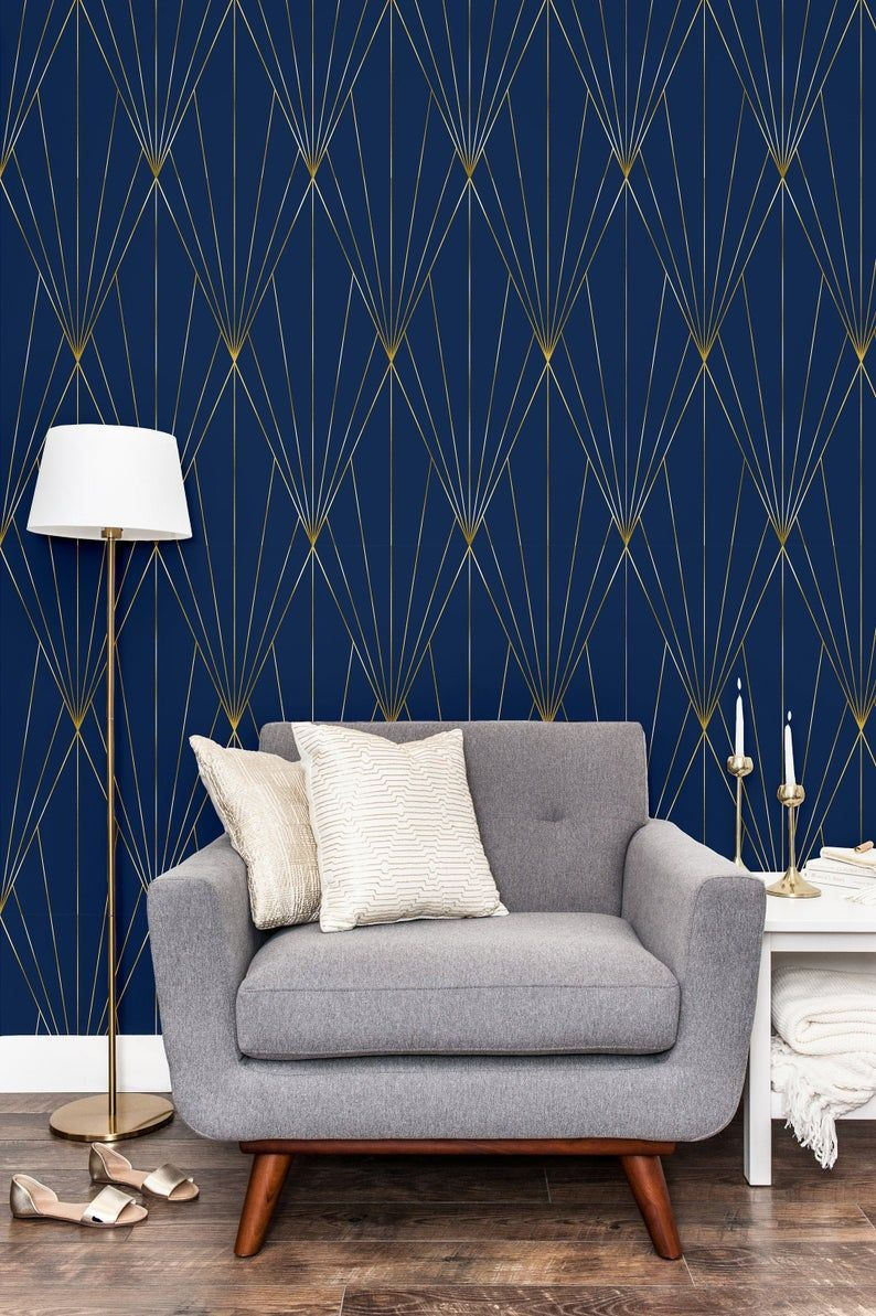 Navy Gold Peel And Stick Wallpaper Self Adhesive Geometric Etsy Peel And Stick Wallpaper Wallpaper Accent Wall Geometric Wallpaper