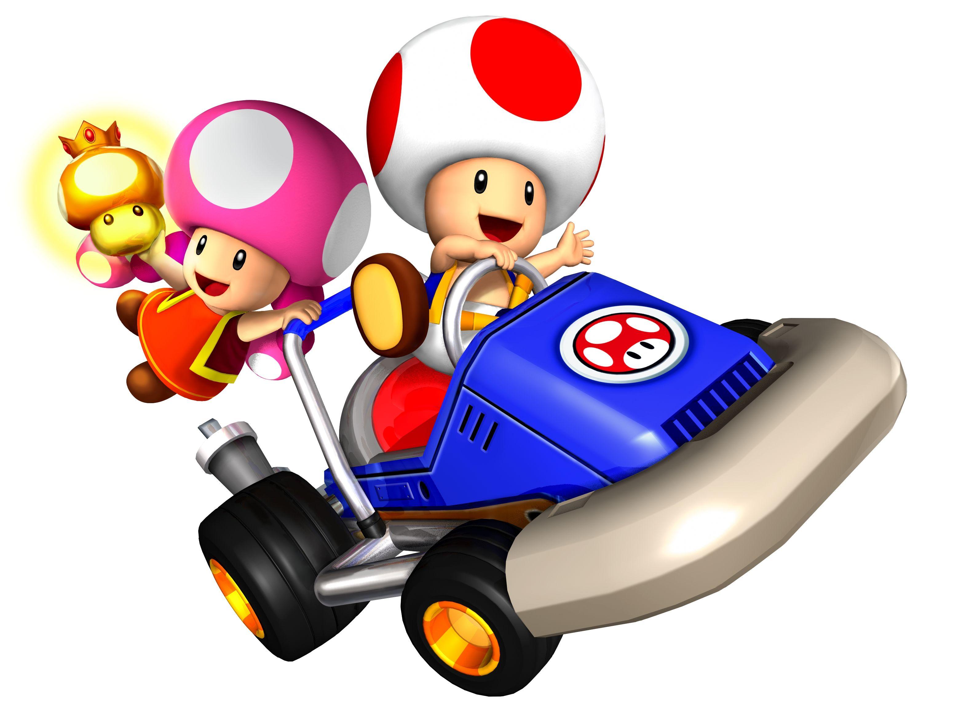 Toad & Toadette in mario kart 2 dash