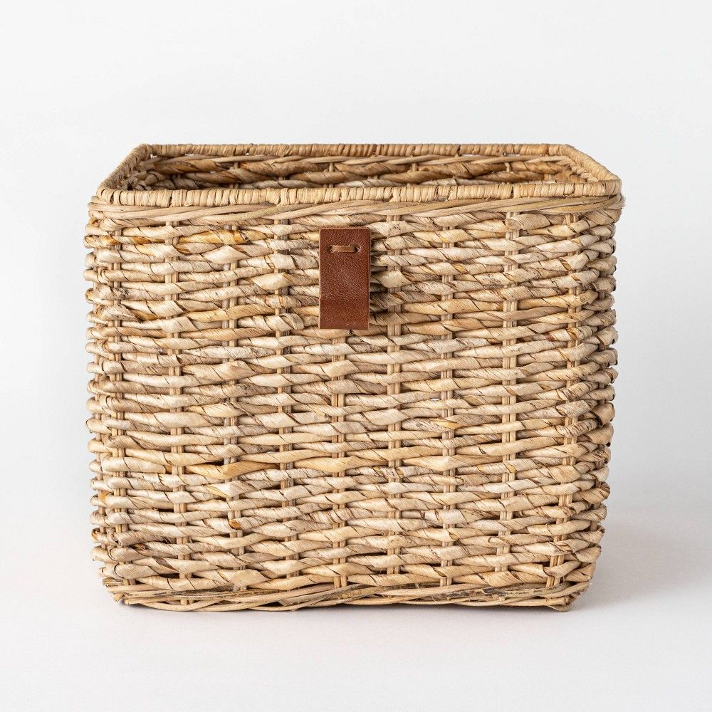 Decorative Cube Basket With Leather Pull 13 X 11 White Threshold Designed With Studio Mcgee In 2020 Inexpensive Home Decor Studio Mcgee Square Baskets