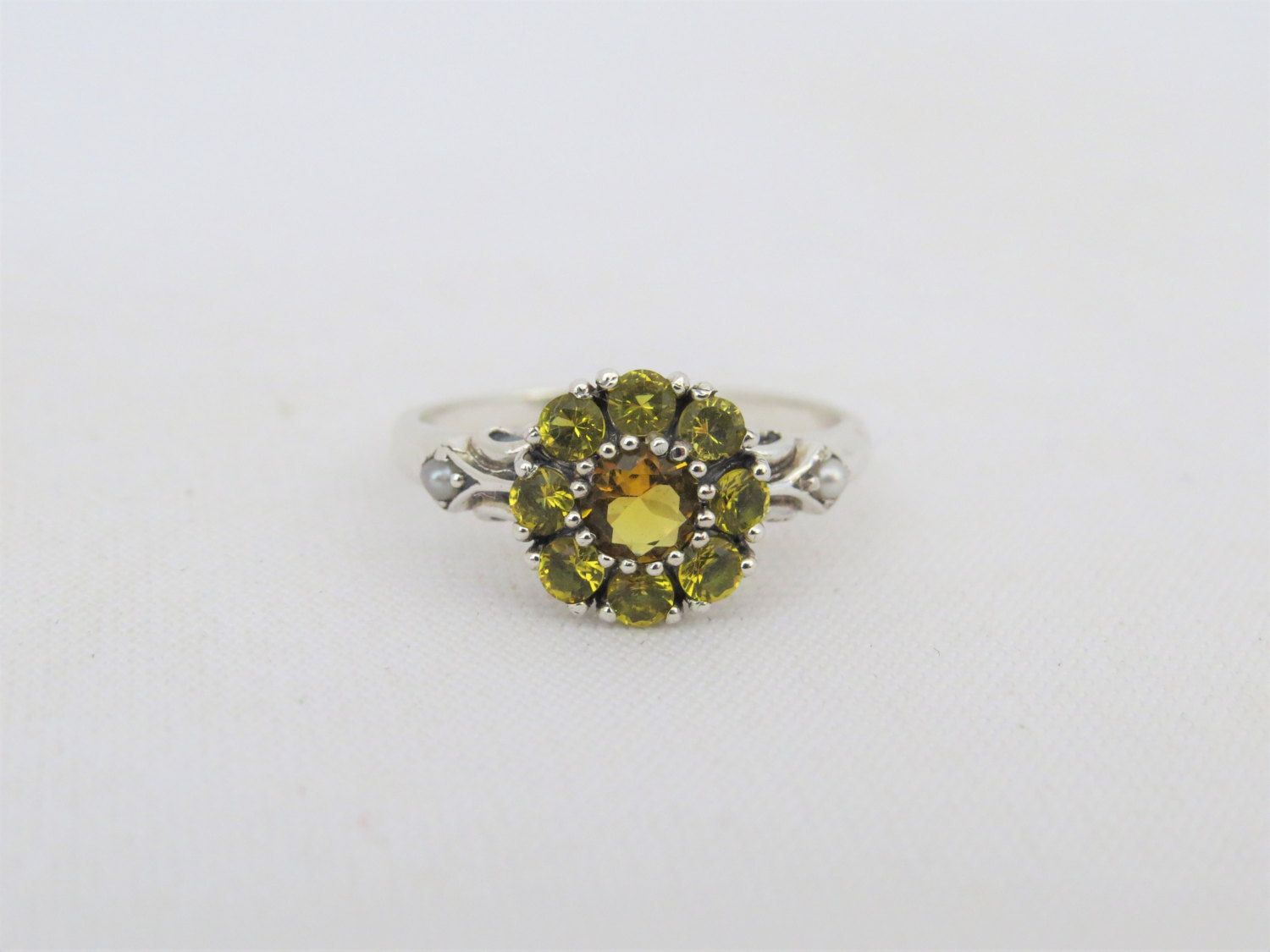 Vintage Sterling Silver Natural Citrine & Seed Pearl Flower Ring Size 8 by JewelryEmpire14 on Etsy