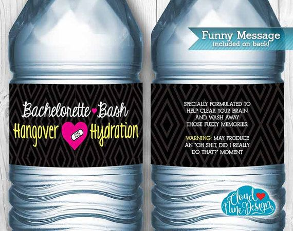 Bachelorette Water Bottle Labels Instant Download Hangover - Bachelorette water bottle label template