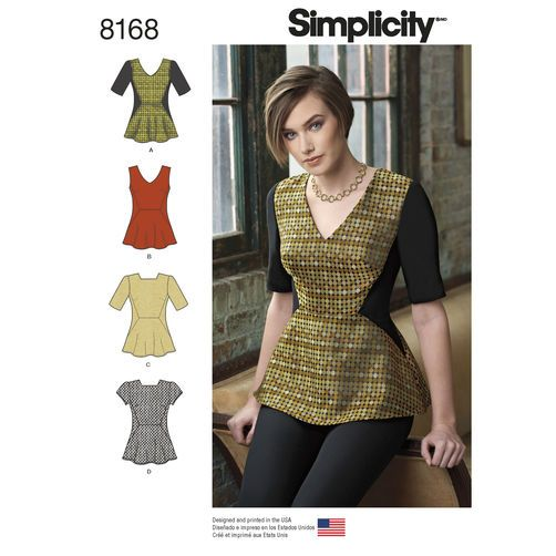 Pattern 8168 Misses\' Peplum Top with Neckline and Sleeve Variations ...