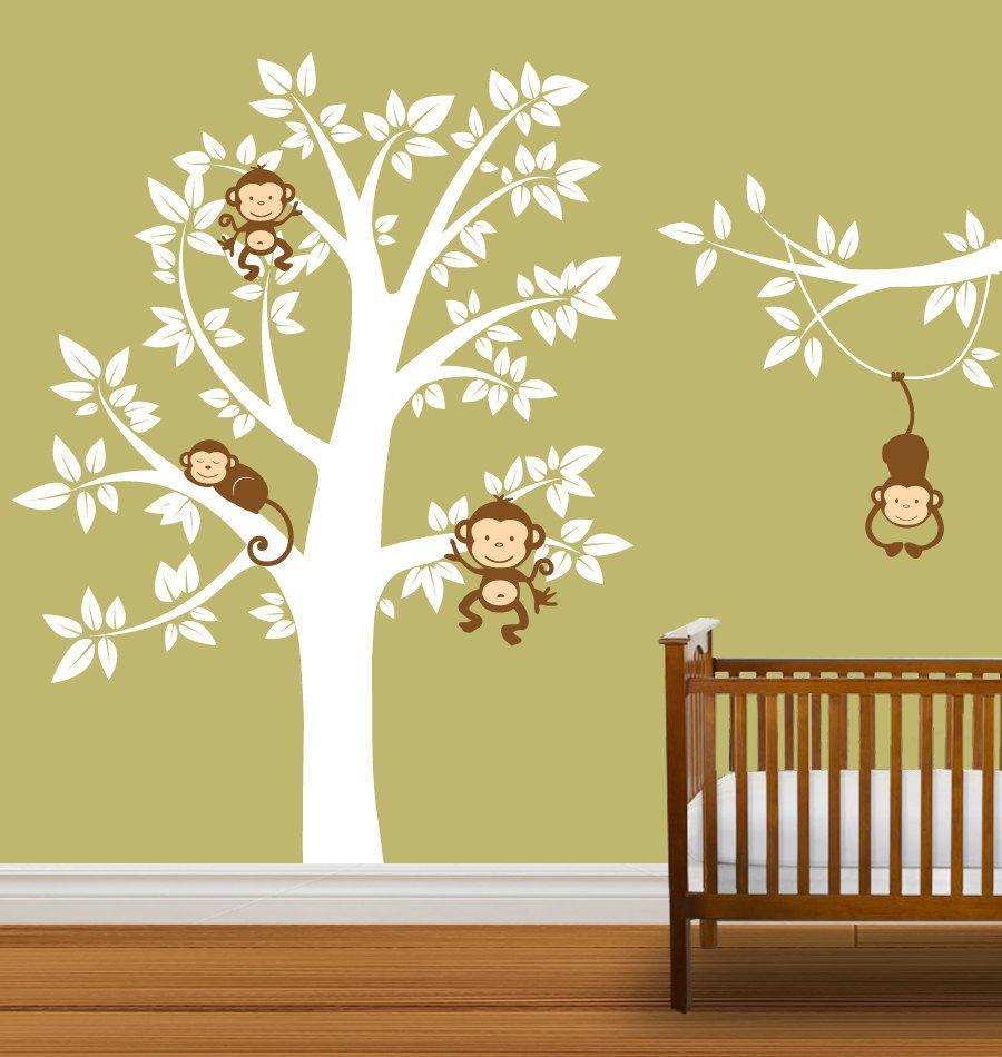 Nursery Tree Decal Monkeys Vinyl Wall Stickers Tree Branch Boys or ...