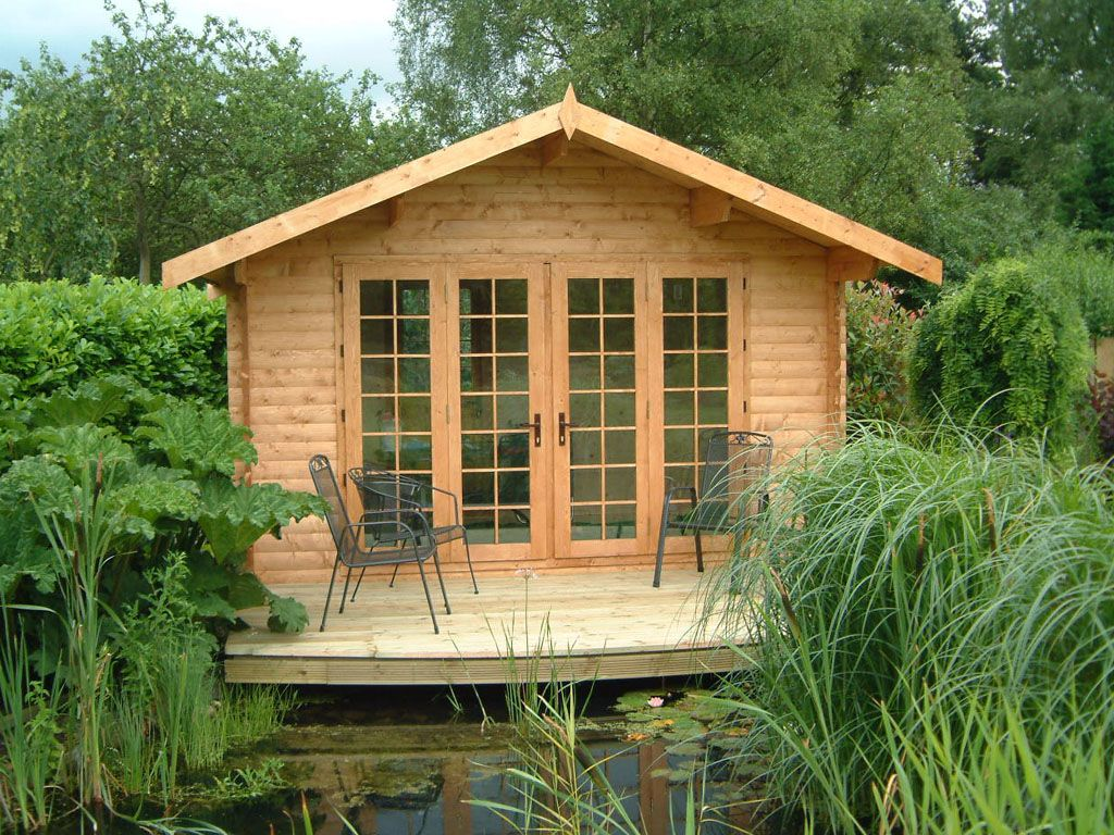 Log cabin sheds summer houses summer house garden shed log cabin fence garden - Small log houses dream vacations wild ...