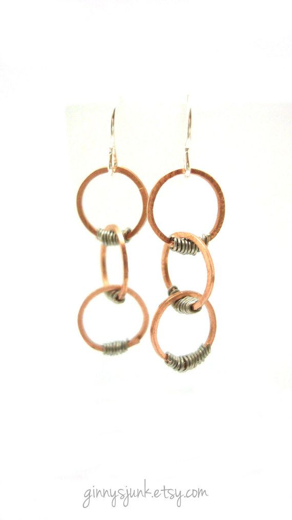 Copper & Silver Earrings - OOAK Handmade Wire Earrings - Copper Hoop ...