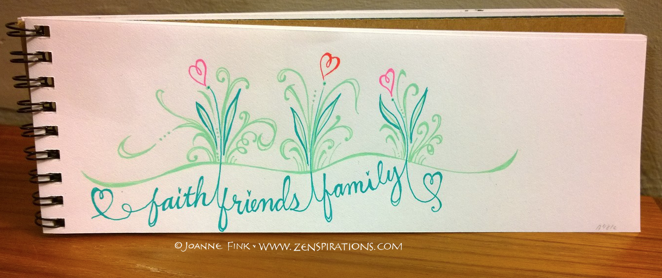 This is a sketch I posted on the Zenspirations - BLOG. I'm trying to illustrate how faith, friends and family are the roots that allow us to grow in love. You can see the whole blog post at www.zenspirations.com/blog.