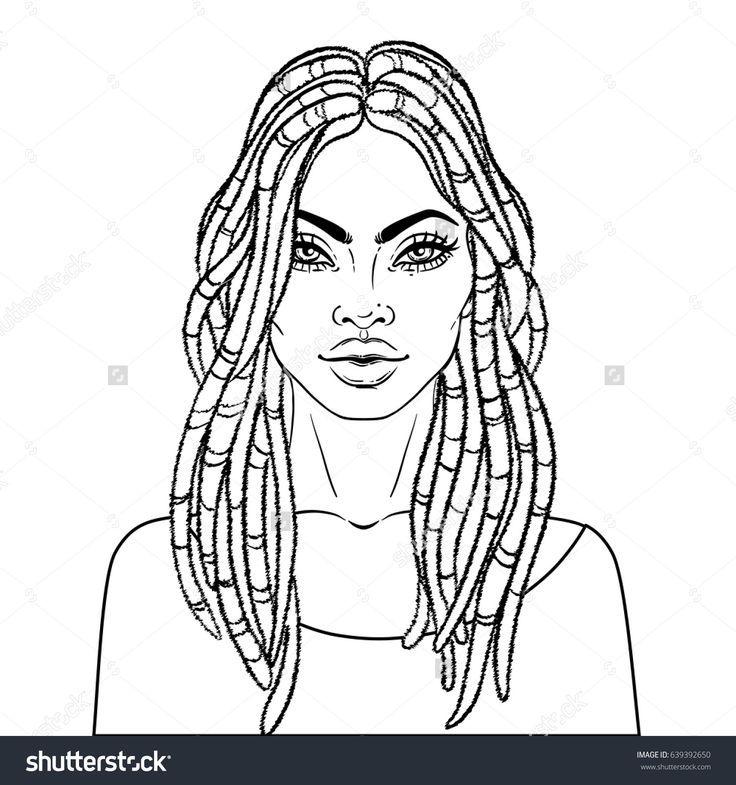 African American pretty girl. Vector Illustration of Black
