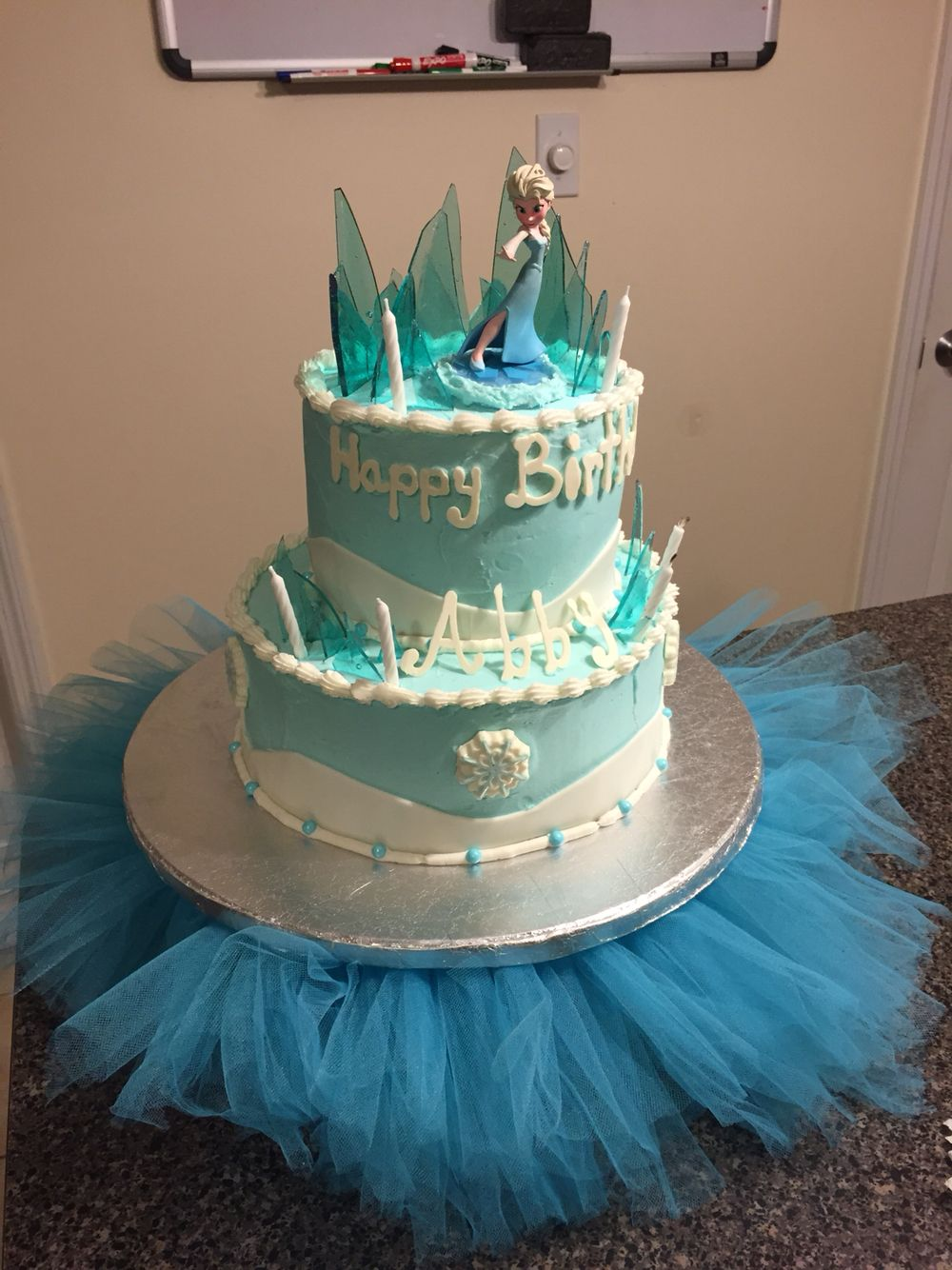 Frozen Birthday cake with homemade buttercream icing multilayered