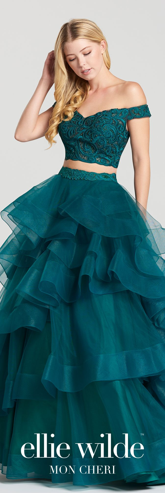 d0f9a6aec2d doesn t have to be a Prom Dress. Two-piece off-the-shoulder tulle and lace  ball gown ...