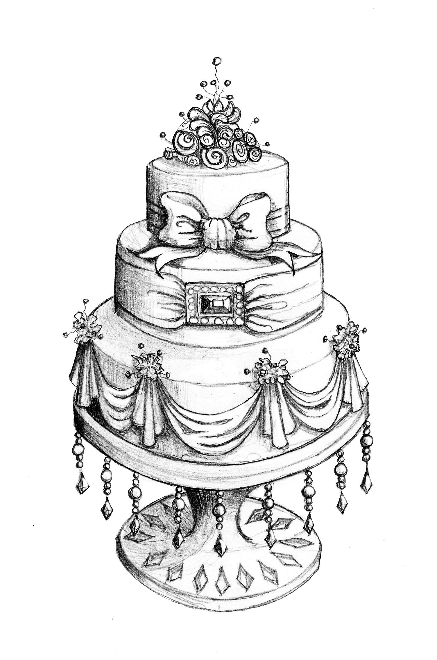 Drawings Of Wedding Cakes