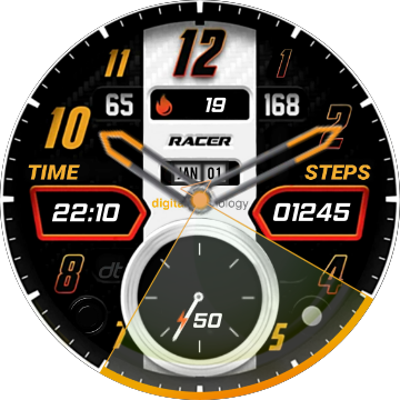 DT Racer Analogic Watch watch face preview in 2019