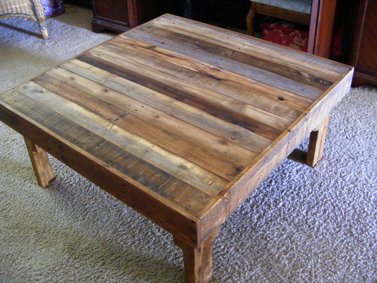 Reserved Order For Megan Large Square Rustic Reclaimed Wood Coffee Table With Shelf 35 X 35 X