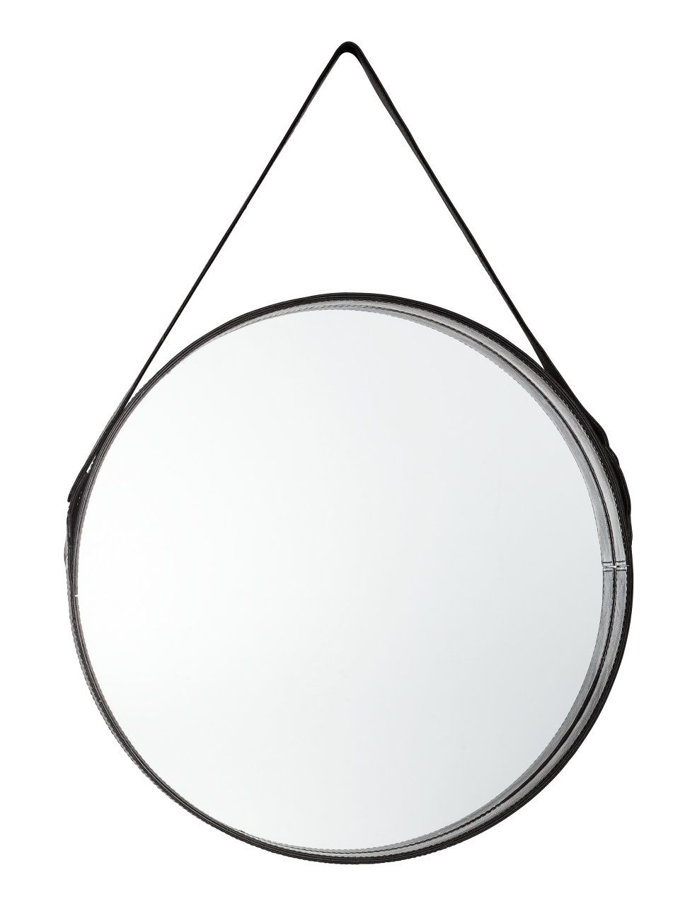 Utmerket Sjekk ut dette! Et stort, rundt speil med skinnramme og stropp til JL-85