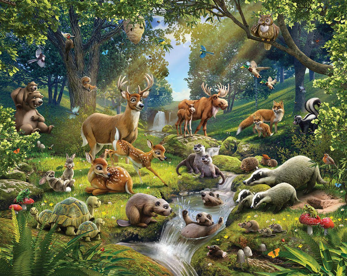 Лес с животными для детей картинки