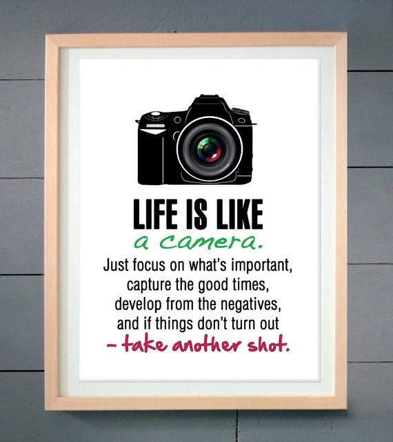 Motivational Inspirational Quotes: Life Is Like A Camera, Motivational Wall Art Print, Camera