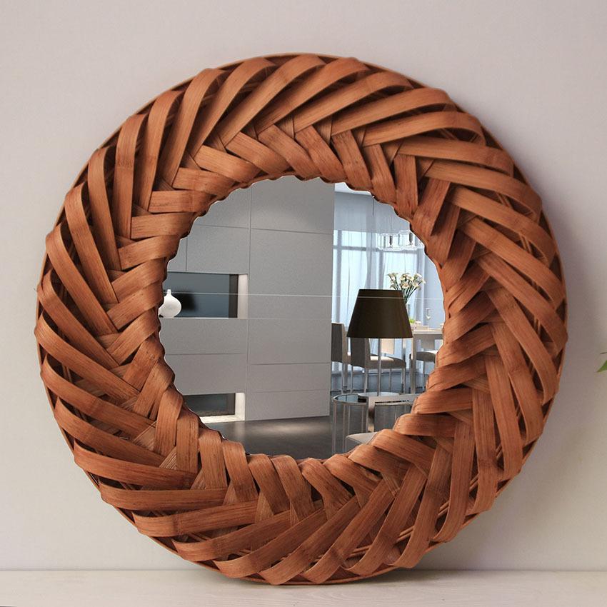 خمر مرآة حائط كبيرة الخشب مرآة حائطية مستديرة مرآة حائط للديكور المنزل غرفة المعيشة الكبيرة جدارية معلقة مرآة حائط خشب Big Wall Mirrors Mirror Wood Wall Mirror