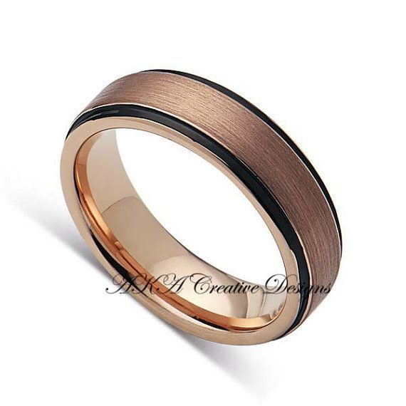 6mm Two Tone Black With Rose Gold Mens Wedding Band Tungsten