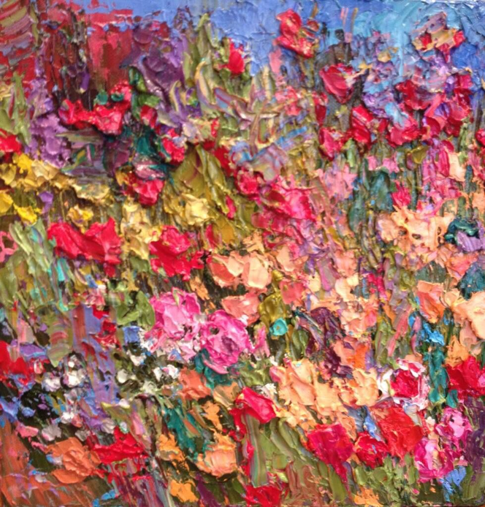 """""""June's Blooms""""10x10 original palette knife oil painting by Peggy Ann Thompson"""