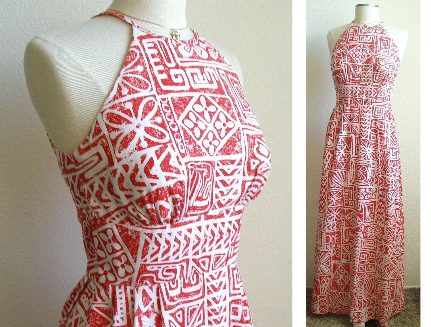 Vintage Red Halter Maxi Dress Hawaiian by PassionFlowerVintage ...