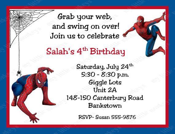 Spider-Man Boy #1 Birthday Invitation With Matching Envelope,Invite,Invitation,Birthday-Spider-Man