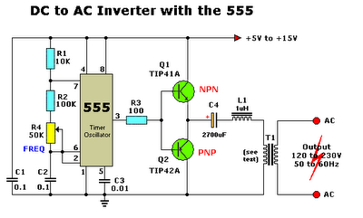 Dc-Ac Converter Circuit Diagram | Dc To Ac Inverter With Ic555 Elprocus In 2018 Pinterest