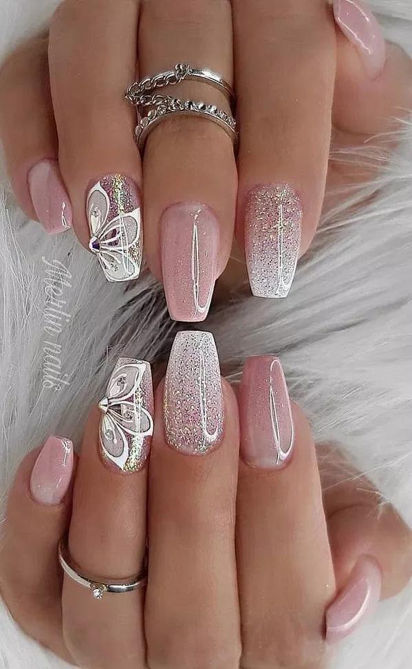 40 Magnificient Wedding Nail Art Ideas You Must Tru 11 Lifestylesinspira Nail Nails Woman Glitter Nails Acrylic Nail Designs Glitter Bright Nail Designs