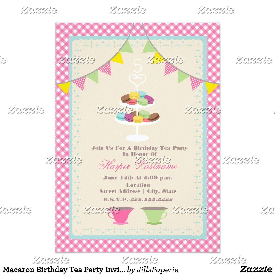 Macaron birthday tea party invitation pink gingham pinterest macaron birthday tea party invitation pink gingham a birthday party invitation featuring a tea party theme stopboris Choice Image