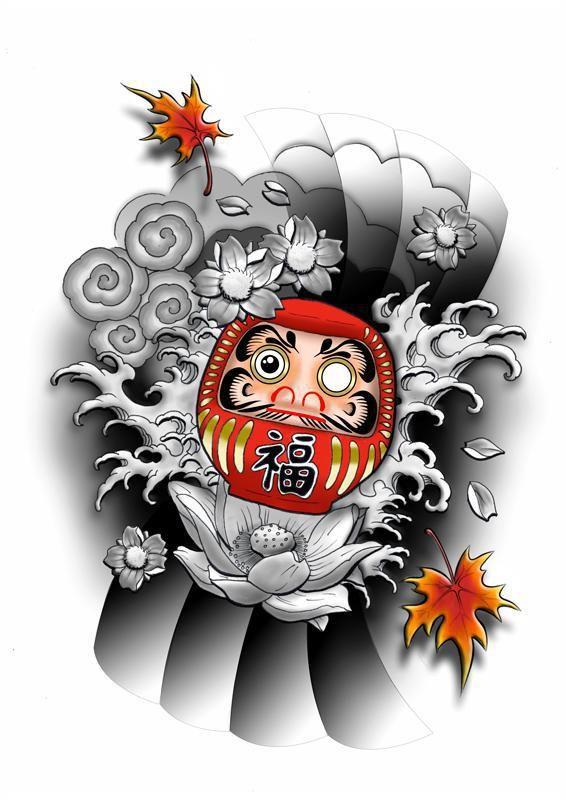 Awesome Daruma Doll Tattoo Design | Daruma doll tattoo