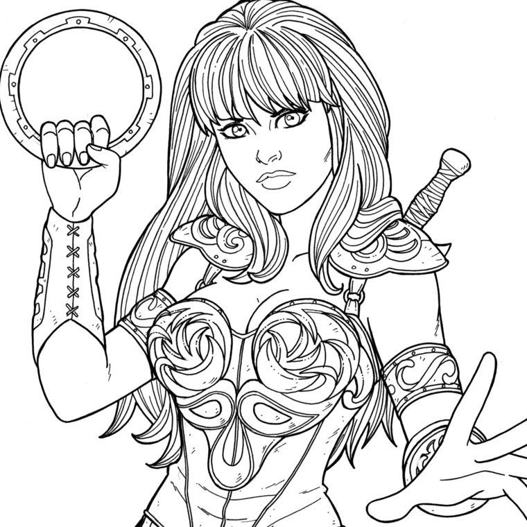Printable Coloring Pages Xena Superheroes Coloring Pages Superhero Coloring Princess Coloring Pages