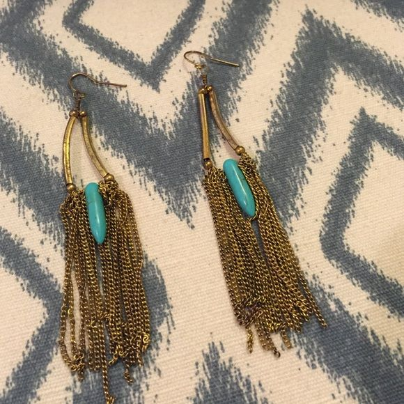 Gold and turquoise earrings Gold and turquoise fringe earrings that are so cute for the summer with their beachy boho look! Worn a few times, in great condition. Bought at Nordstrom. Nordstrom Jewelry Earrings