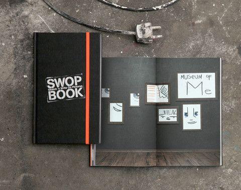 Swop Book. Gerade keine Idee oder keine Lust sich den Kopf zu zermartern? Kein Problem! Dieses Notizbuch hilft Ihnen die Angst vor dem weißen Papier zu überwinden. Darum ist das Papier in diesem Notizbuch auch nicht blanko, sondern bedruckt. Und zwar mit Bildern, die darauf warten kreativ vervollständigt zu werden. Scribbeln, taggen Sie Ihre Ideen auf Kinoleinwände, Plakatflächen, Klowände oder Hausfassaden, probieren Sie Tattoos aus oder beschriften Sie Schilder neu.