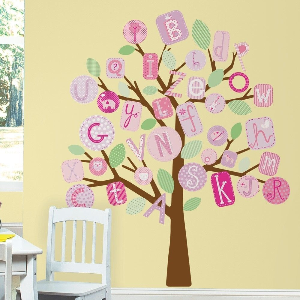 ABC ALPHABET TREE WALL DECALS MURAL Baby Girl Nursery Stickers Decor ...
