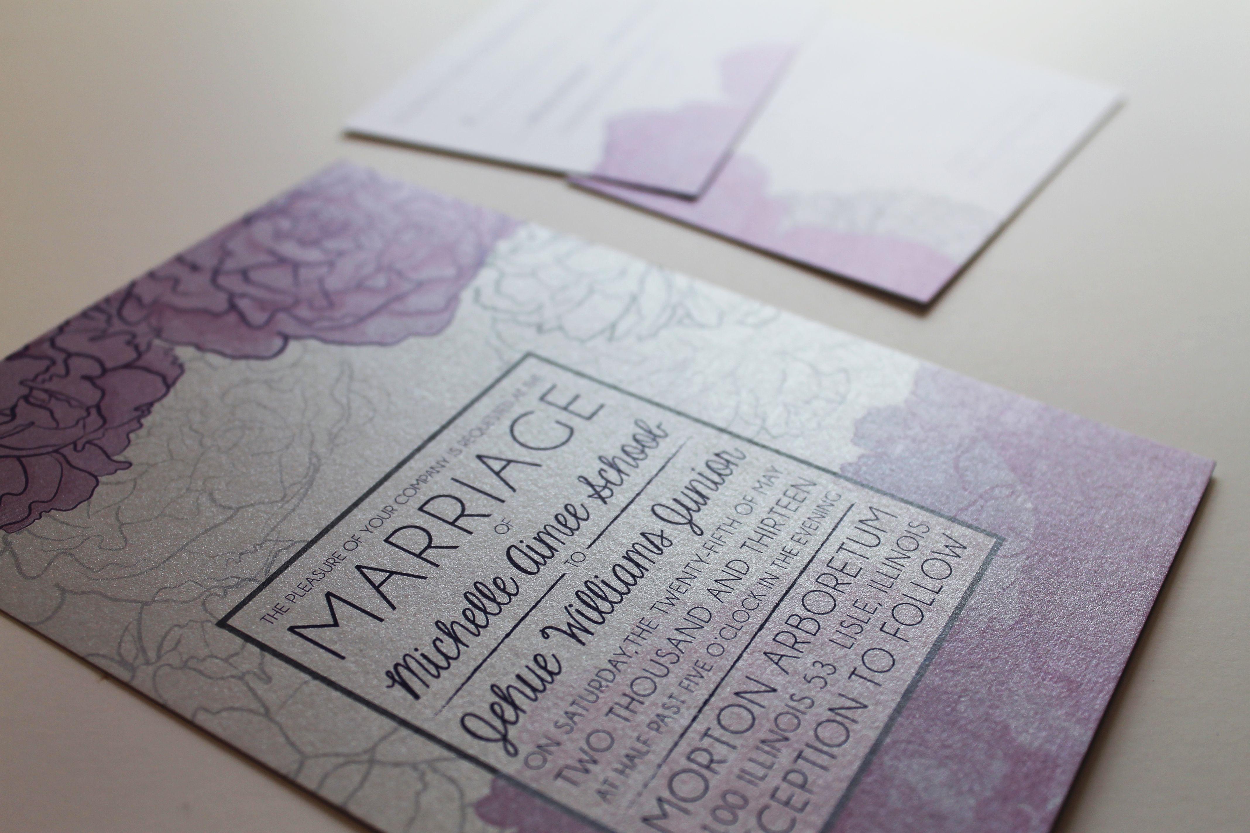 Full color wedding invitation printed on metallic silver