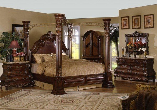 estilo clásico cabecera de cuero con dosel tamaño king madera de ...