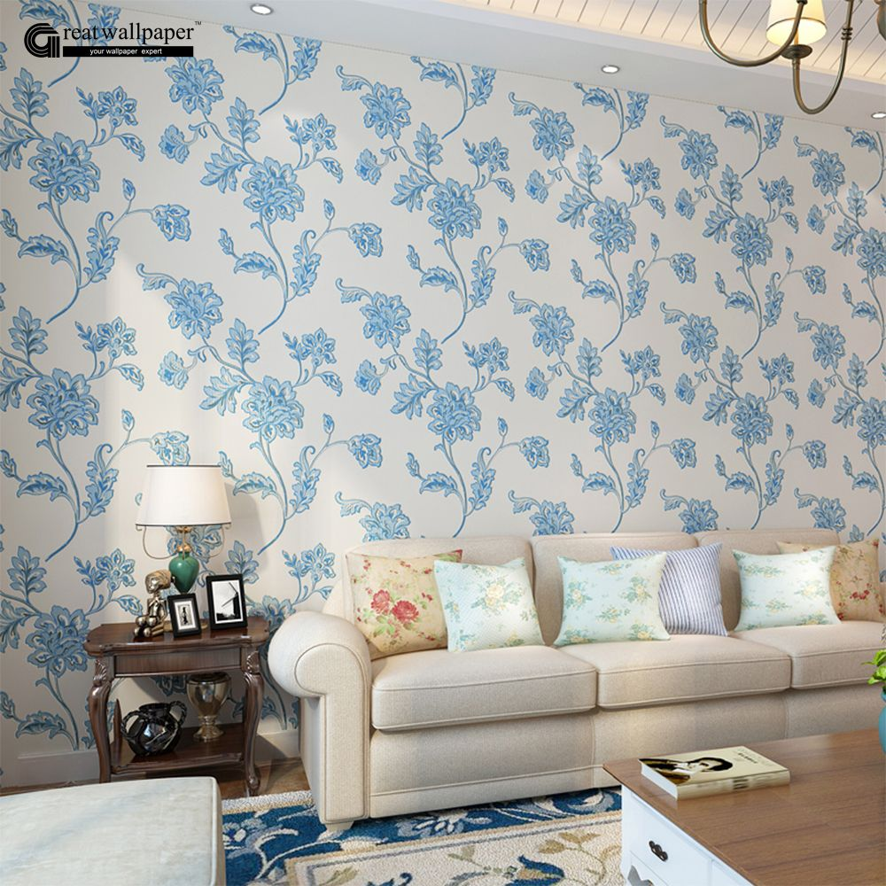 New Pastoral Cosy Floral Wallpaper Durable Thicken Non-woven 3D Wall Paper Mural Flower Wallpapers