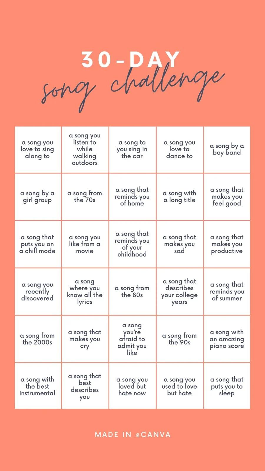 30 Day Song Challenge Búsqueda De Google 30 Day Song Challenge Song Challenge Music Challenge