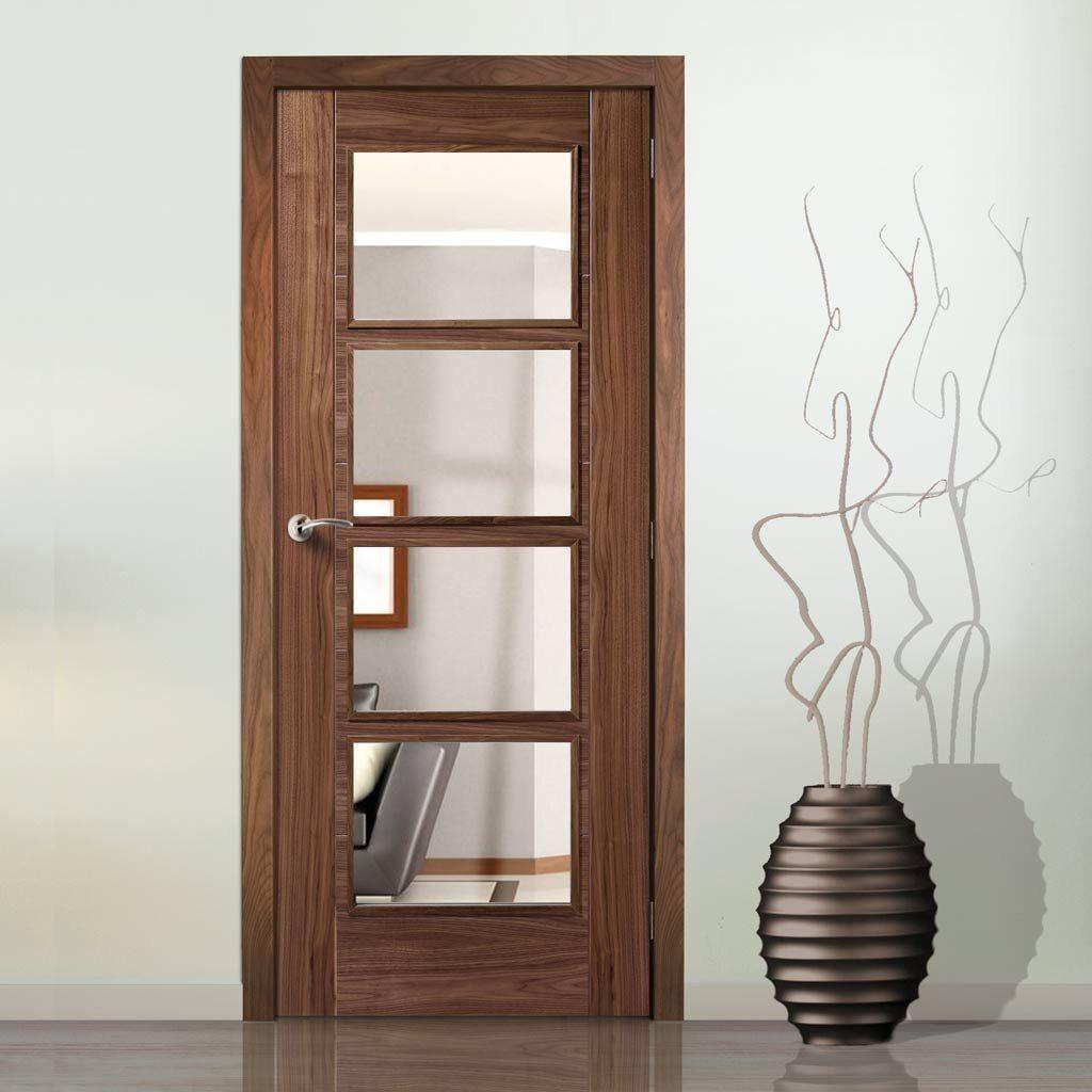 Vancouver Walnut 4 Pane Fire Door Clear Glass 1 2 Hour Fire Rated Prefinished In 2020 Oak Doors With Glass Fire Doors Garage Door Design
