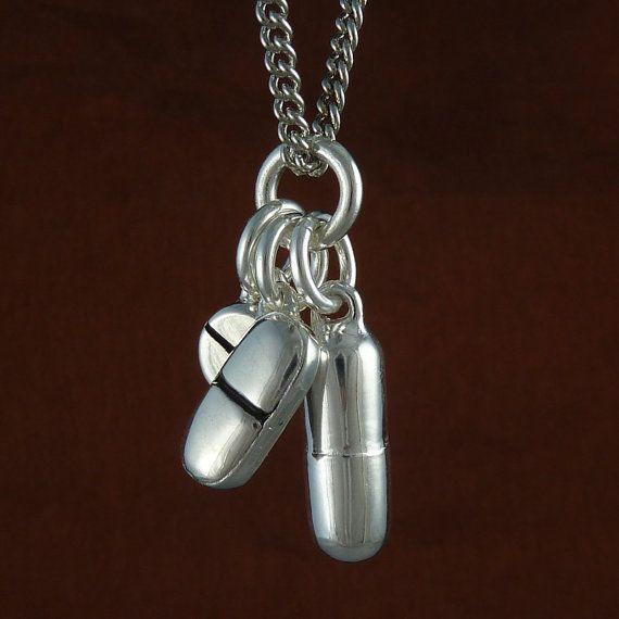 "Pill Necklace - Antique Silver Pill Pendant Necklace on 24"" Antiquen Silver Chain (por LostApostle)"