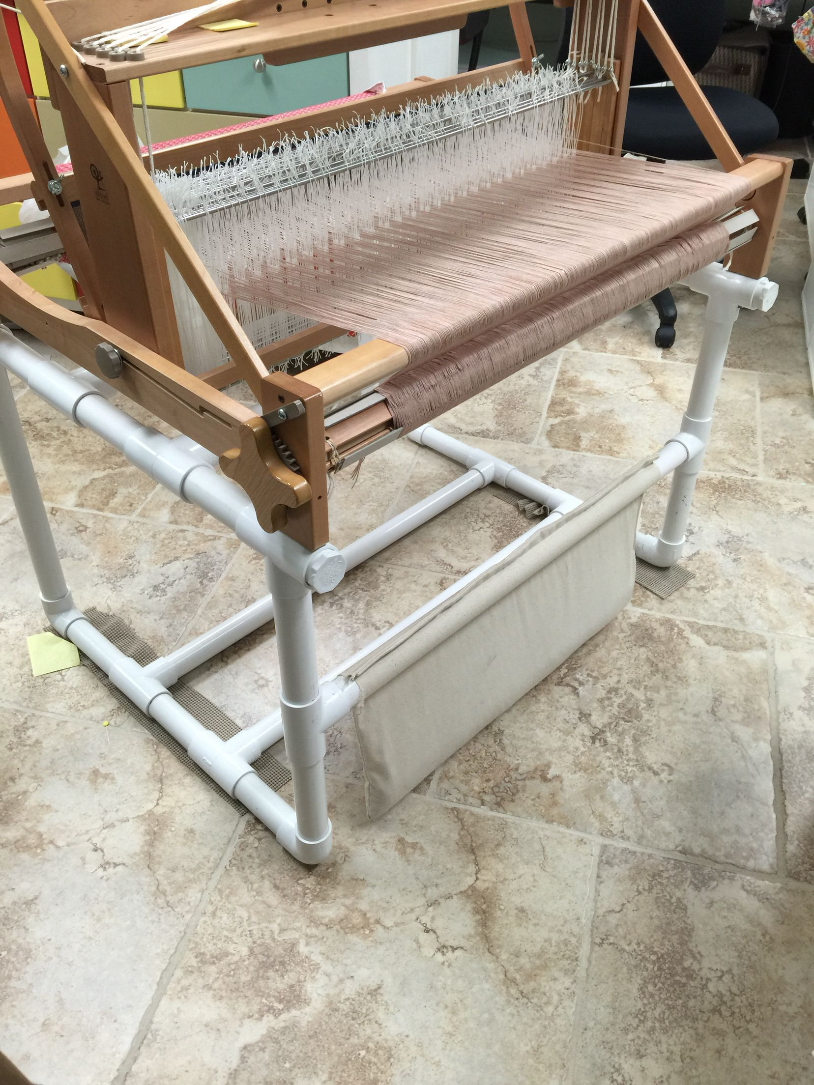 Back Of Pvc Loom Stand With A Weight Belt I Made And Used Aquarium