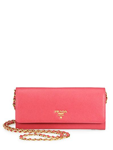 160b20f431f0 Love the pop of color-Prada - Saffiano Metal Oro Chain Wallet ...