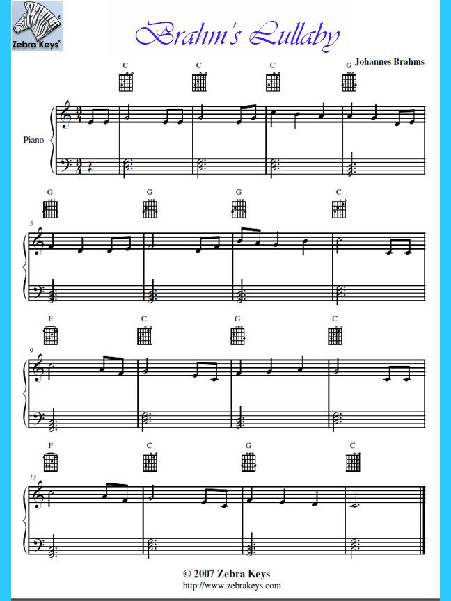 Lyric lyrics of brahms lullaby : Download this Free sheet music for Easy Piano song, Brahms ...
