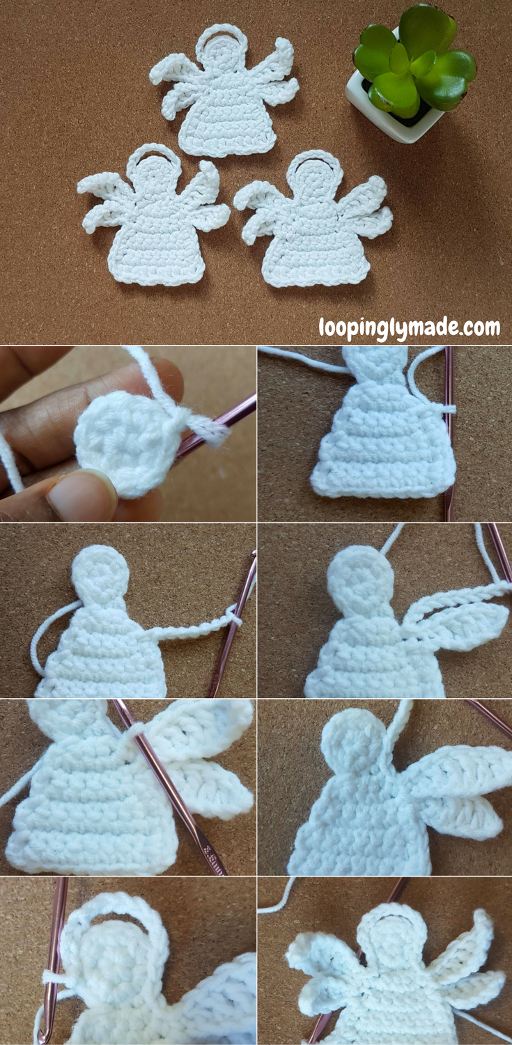 Crochet Angel Applique Free Pattern And Tutorial Crochet Crochet Angel Christmas Crochet