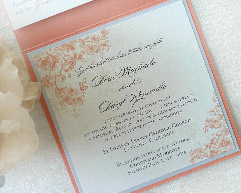 Coral Wedding Invitation / Floral Wedding Invitation / Garden Wedding  Invitation / Gold Wedding Invitation By