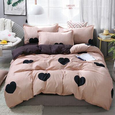 Bedding Set 3 4pcs Bed Linen Heart Printed Duvet Cover Bed Sheet Pillowcase Bed Linens Luxury Bedding Sets Bed Linen Sets