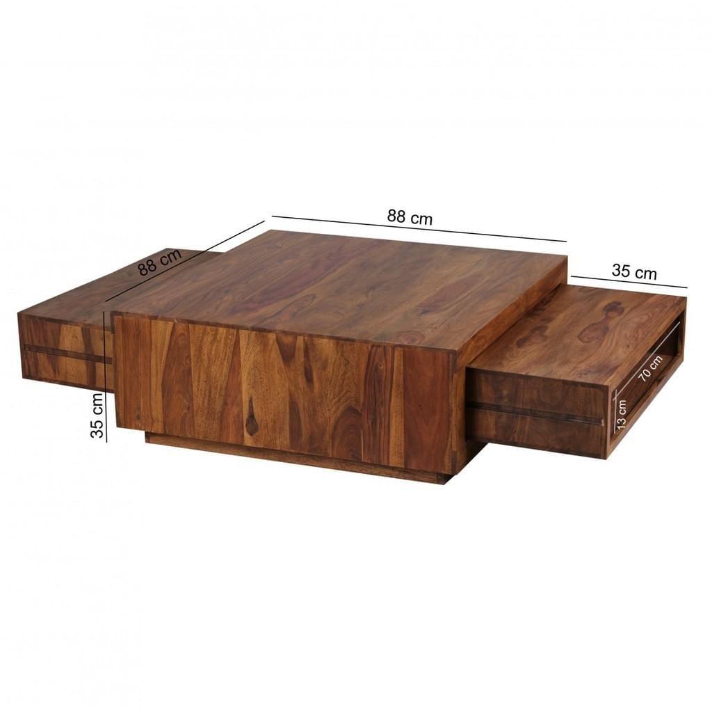Ansprechend Couchtisch Holzplatte Foto Von Finebuy Massiv-holz Sheesham 88 Bild 3