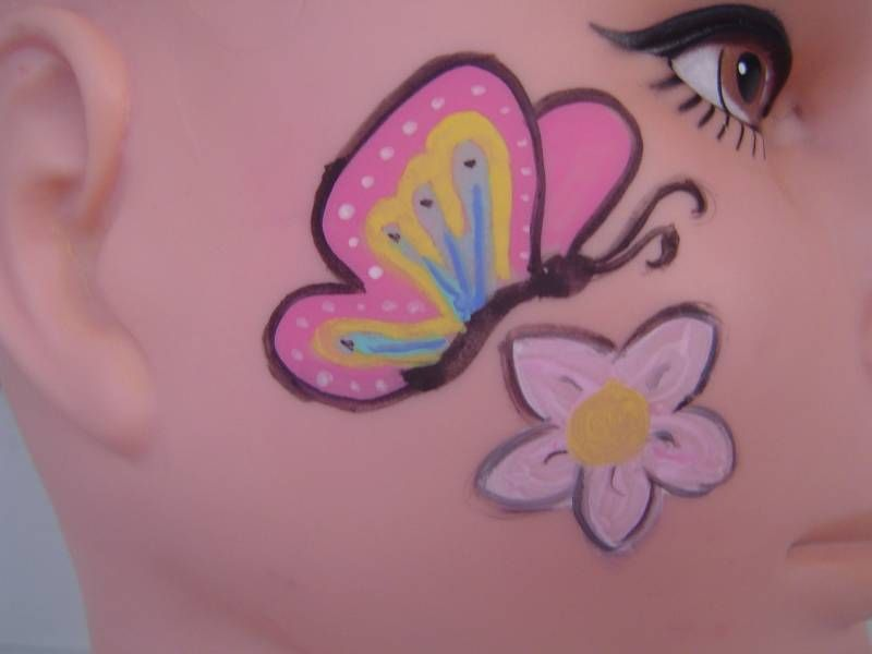 Another Easy Butterfly And Flower Face Paint Face Painting Easy Face Painting Butterfly Face Paint
