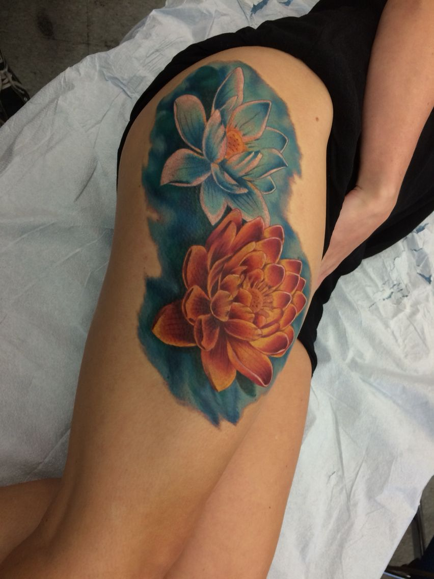 My beautiful blue and orange lotus tattoo the most beautiful lotus tattoo my beautiful blue and orange lotus izmirmasajfo
