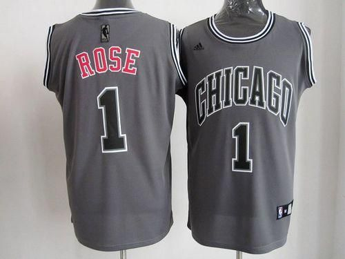 outlet store 84876 fc7e8 Bulls #1 Derrick Rose Grey Graystone II Fashion Embroidered ...