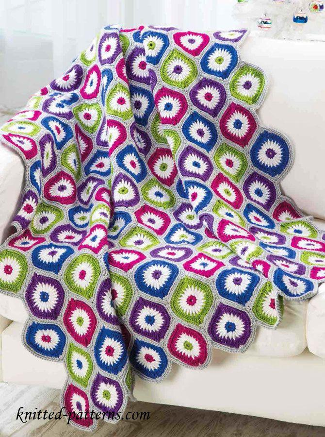 Motif afghan crochet pattern free | Colchas en crochet | Pinterest ...